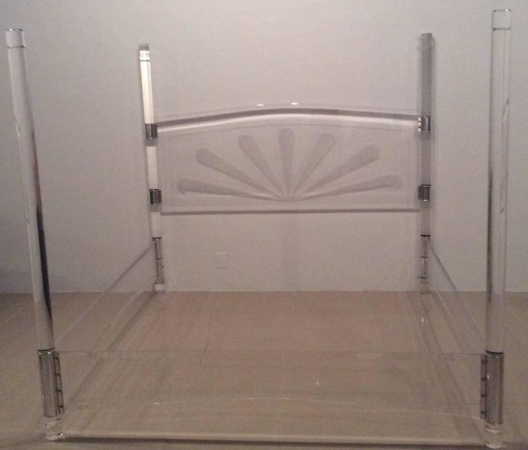 lucite and chrome four post canopy bed king-size vintage headboard