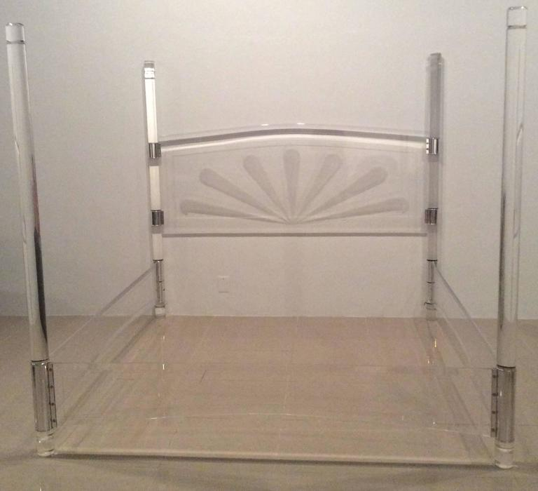 23adbc026632 Lucite and Chrome Four Post Canopy Bed King-Size Vintage Headboard Mid- Century For
