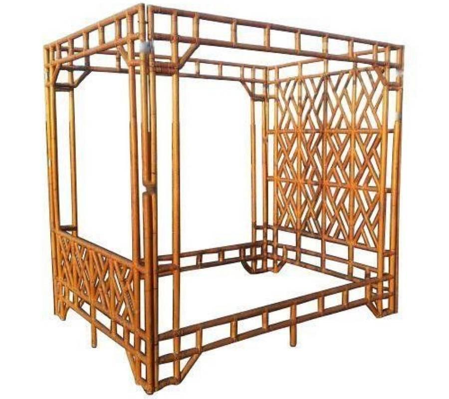 Chinese Chippendale Bed : Chinese Chippendale Canopy Vintage Queen Size Rattan Bed Headboard ...