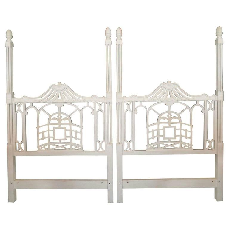 Pagoda Twin Headboards Vintage Pair Chinese Chippendale