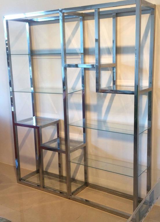 Chrome etagere vintage display shelves ten shelf glass - Etagere 6 cases ...