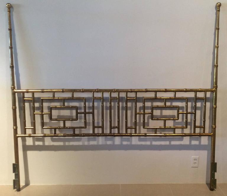 Vintage Hollywood Regency, Chinese Chippendale, faux bamboo, metal, gold gilt finish, king-size headboard bed. Wonderful geometric pattern. Perfect for that elegant Palm Beach, Chinoiserie feel!