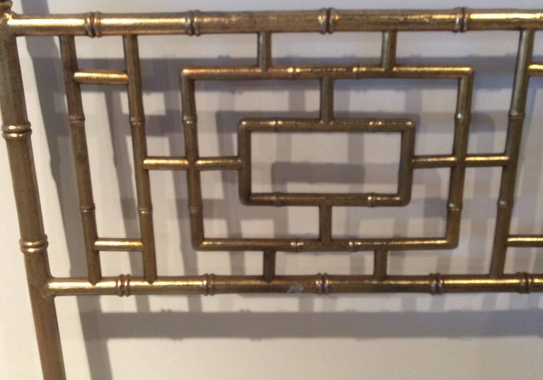 American Faux Bamboo Chinese Chippendale Vintage King Size Headboard Bed Geometric For