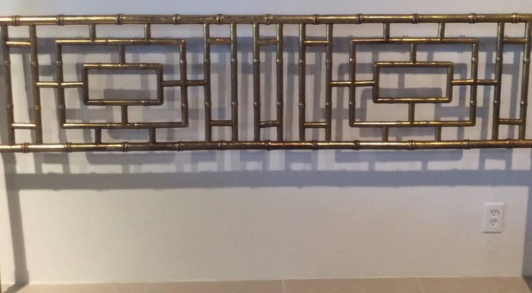 Metal  Faux Bamboo Chinese Chippendale Vintage King-Size Headboard Bed Geometric