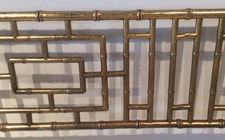 Faux Bamboo Chinese Chippendale Vintage King-Size Headboard Bed Geometric 1