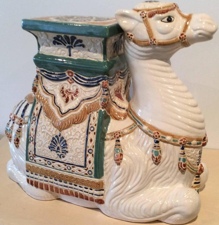 Vintage Camel Garden Stand Stool Ceramic Hollywood Regency