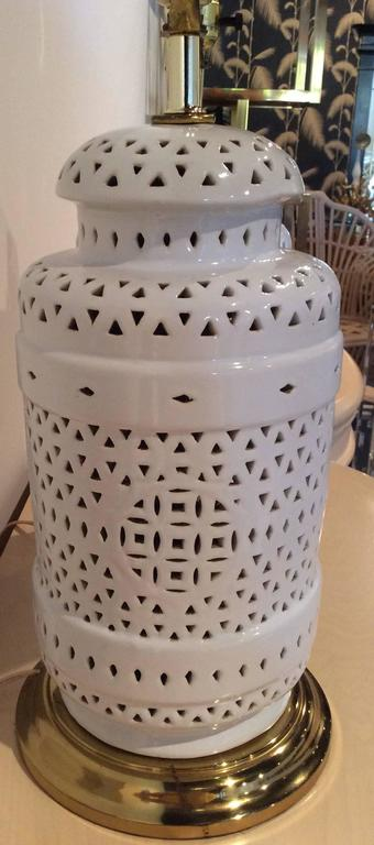 Pierced Chine De Blanc Asian Vintage Ginger Jar Table