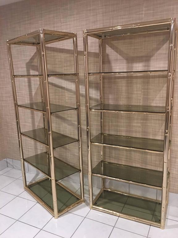 Pair Faux Bamboo Brass Etageres Glass Display Shelves Hollywood ...