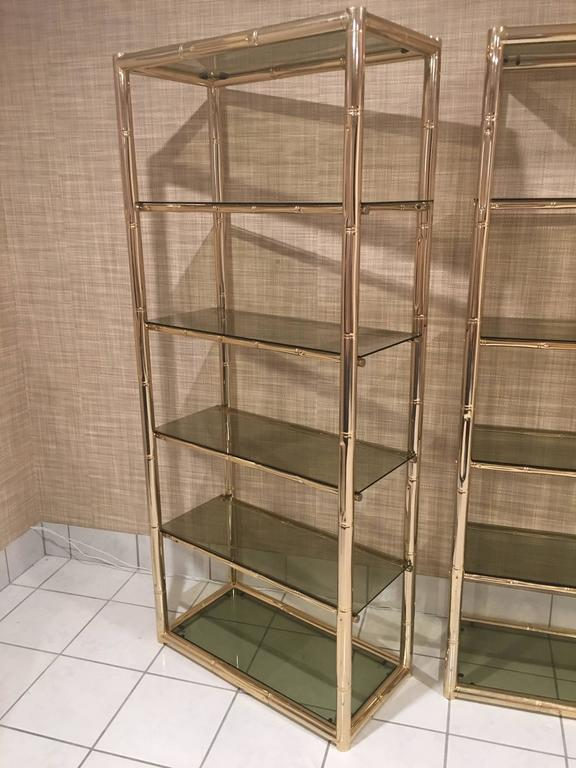 Singaporean Pair Faux Bamboo Brass Etageres Glass Display Shelves Hollywood Regency Metal For Sale