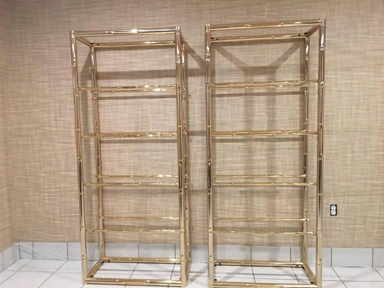 Pair Faux Bamboo Brass Etageres Glass Display Shelves