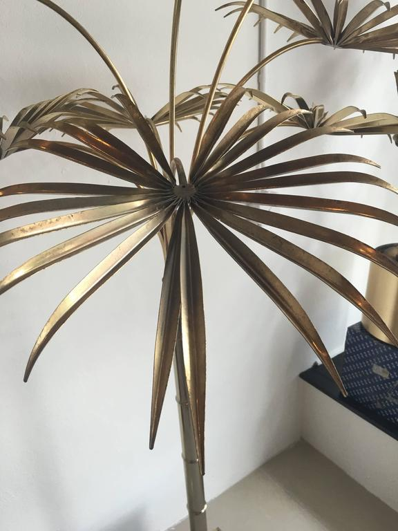 Italian Gold Palm Tree Metal Faux Bamboo Plant Brass Pot
