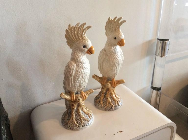 Pair Of Vintage Italian Bird Cockatoo Statues Ceramic