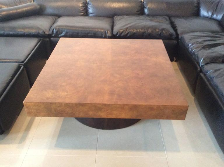 American Milo Baughman Burl Wood Coffee Cocktail Table Mid-Century Modern Patchwork  For Sale