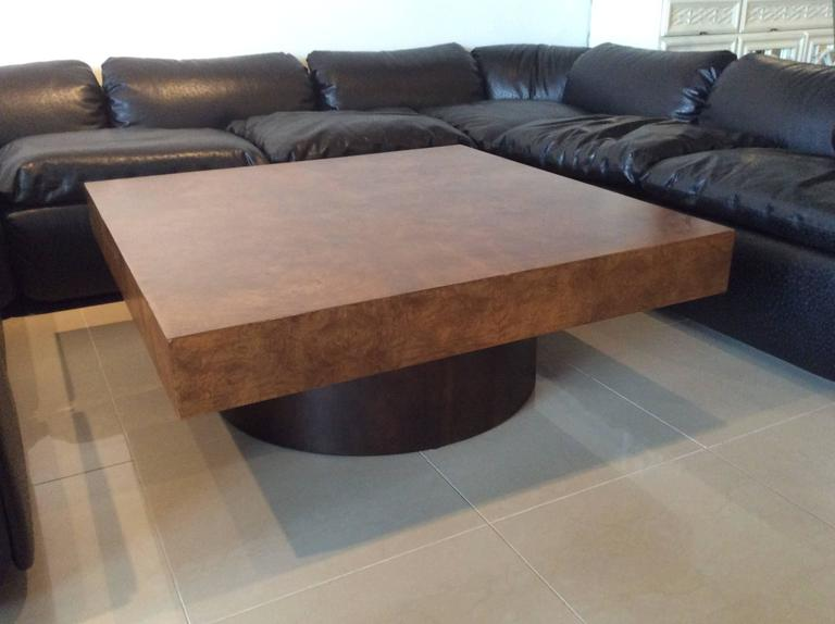 Milo Baughman Burl Wood Coffee Cocktail Table Mid-Century Modern Patchwork  For Sale 1