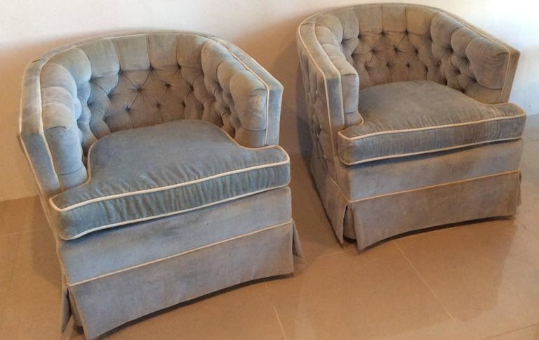Pair Of Vintage Swivel Button Tufted Barrel, Tub Shaped Club, Lounge Chairs.  Tufted