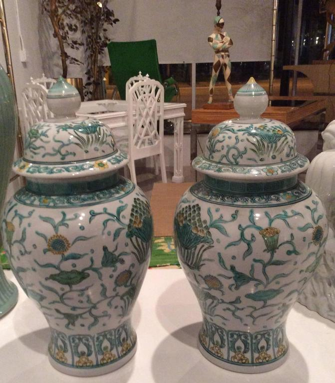 The Prettiest Pair Of Oriental Asian Ginger Jars With A Lovely Green And Yellow Color