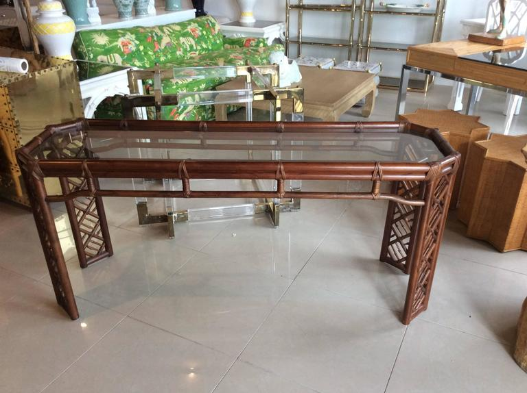 Awesome Brown Jordan Rattan Console Table Faux Bamboo Hollywood Regency Wicker  Vintage 2