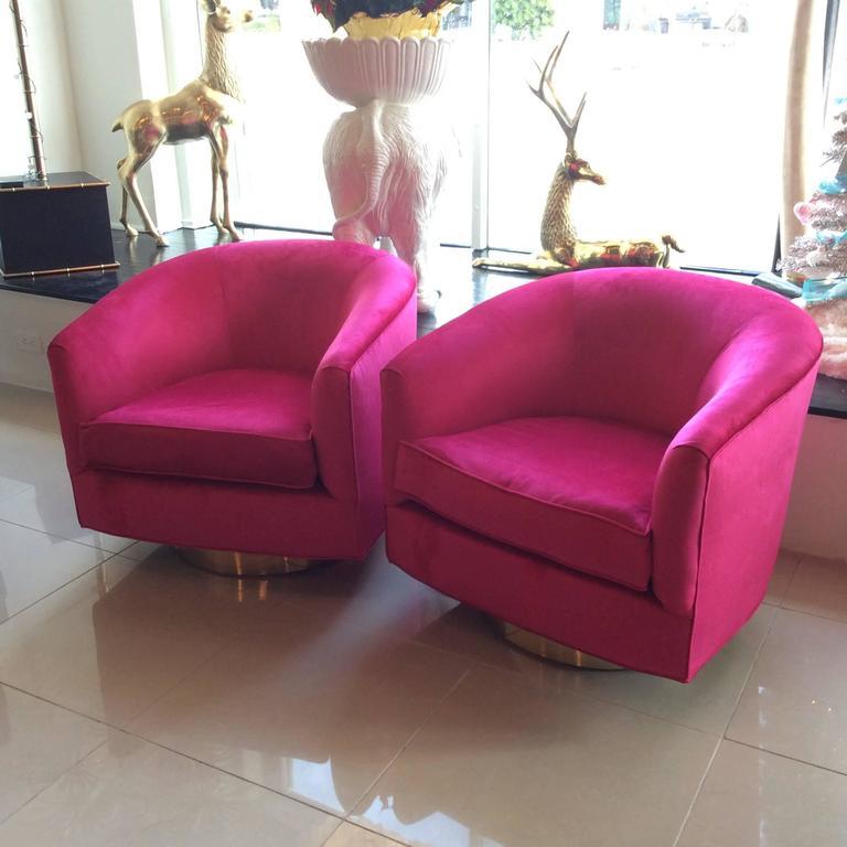Hollywood Regency Pair Of Milo Baughman Pink Velvet Brass Swivel Tub Barrel  Armchairs Vintage For Sale