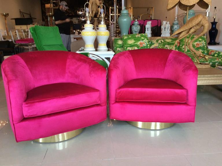 Pair of Milo Baughman Pink Velvet Brass Swivel Tub Barrel Armchairs ...
