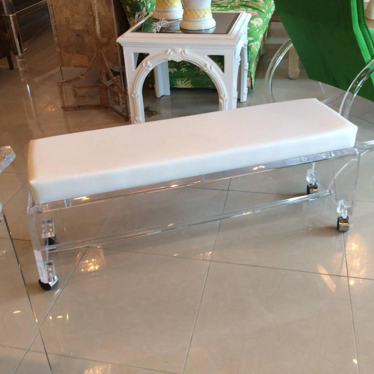 Seating Bench At The End Of The Bed With Hamper Storage: Lucite Waterfall End Of Bed Bench Seat Chair White Leather