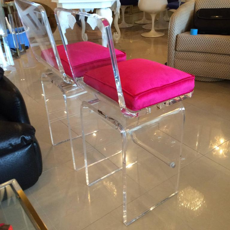 Charles Hollis Jones Lucite Swivel Barstools Counter