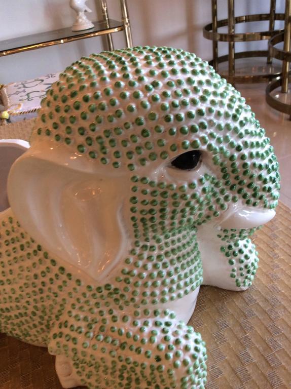 American Green Hobnail Elephant Ceramic Planter Pot Vintage Palm Beach Garden Plant For Sale