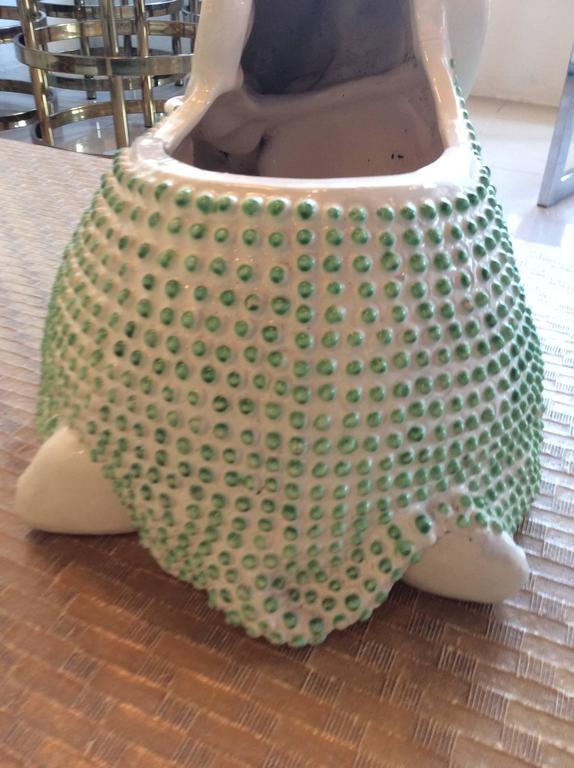 Green Hobnail Elephant Ceramic Planter Pot Vintage Palm Beach Garden Plant For Sale 2