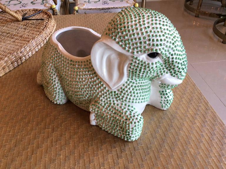 Hollywood Regency Green Hobnail Elephant Ceramic Planter Pot Vintage Palm Beach Garden Plant For Sale