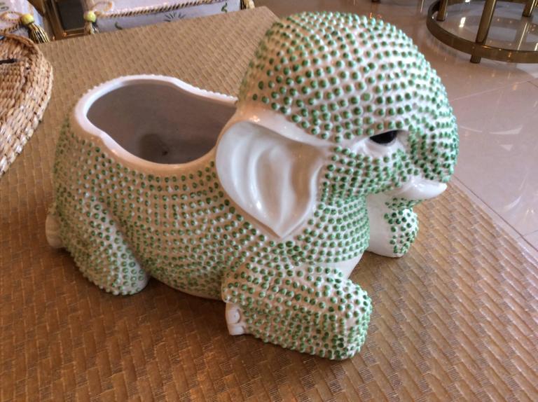 Late 20th Century Green Hobnail Elephant Ceramic Planter Pot Vintage Palm Beach Garden Plant For Sale
