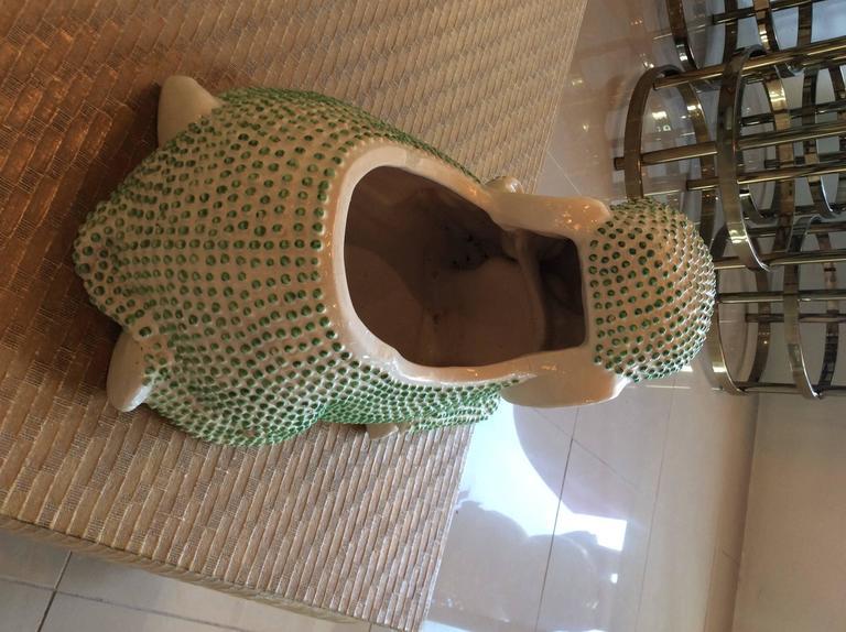 Green Hobnail Elephant Ceramic Planter Pot Vintage Palm Beach Garden Plant For Sale 1