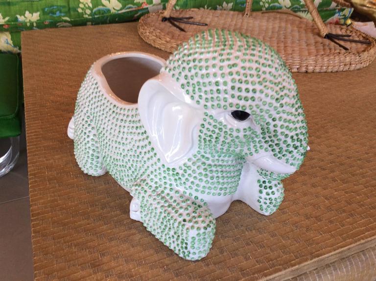 Green Hobnail Elephant Ceramic Planter Pot Vintage Palm Beach Garden Plant For Sale 3