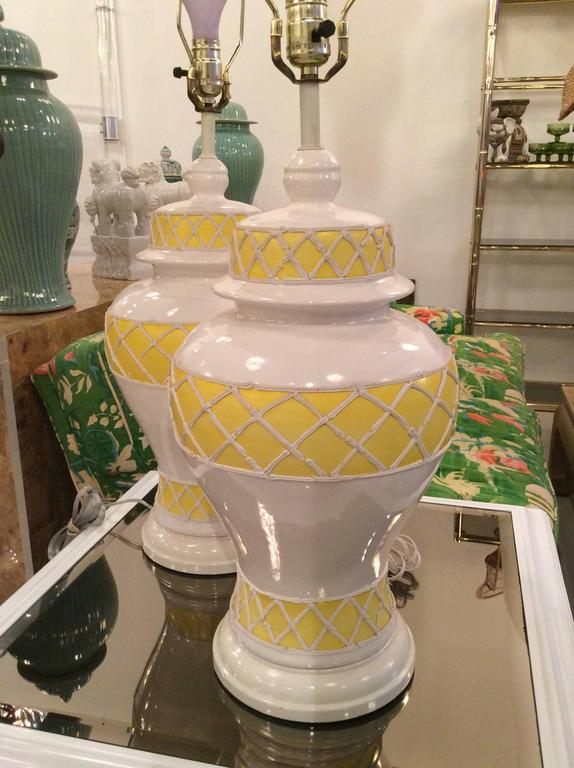 Large Vintage Ginger Jar Icing Table Lamps Pair In Ceramic