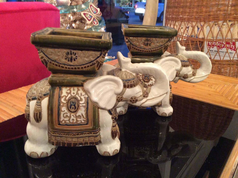 Pair Of Vintage Terra Cotta Elephant Garden Pots Planters