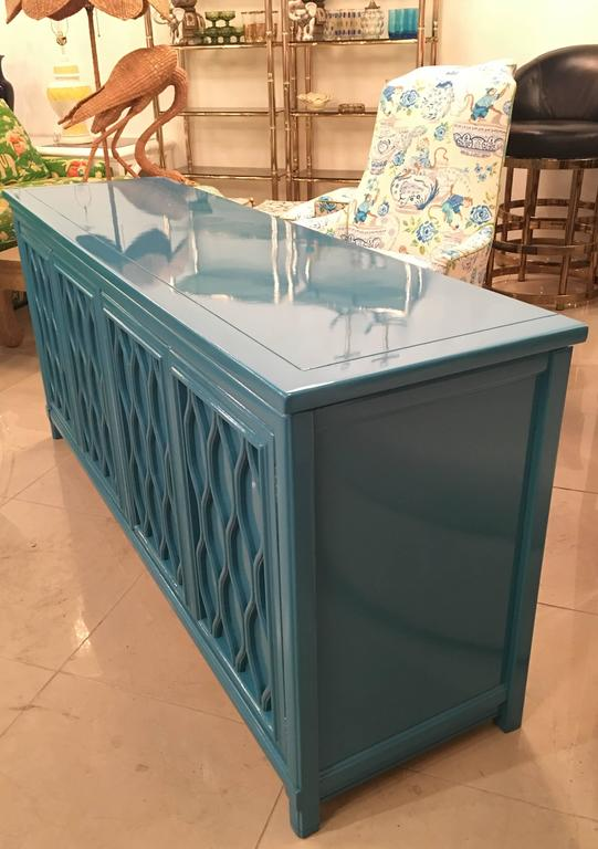 Lacquered Credenza Buffet Sideboard Blue Teal Dresser Hollywood Regency Vintage at 1stdibs