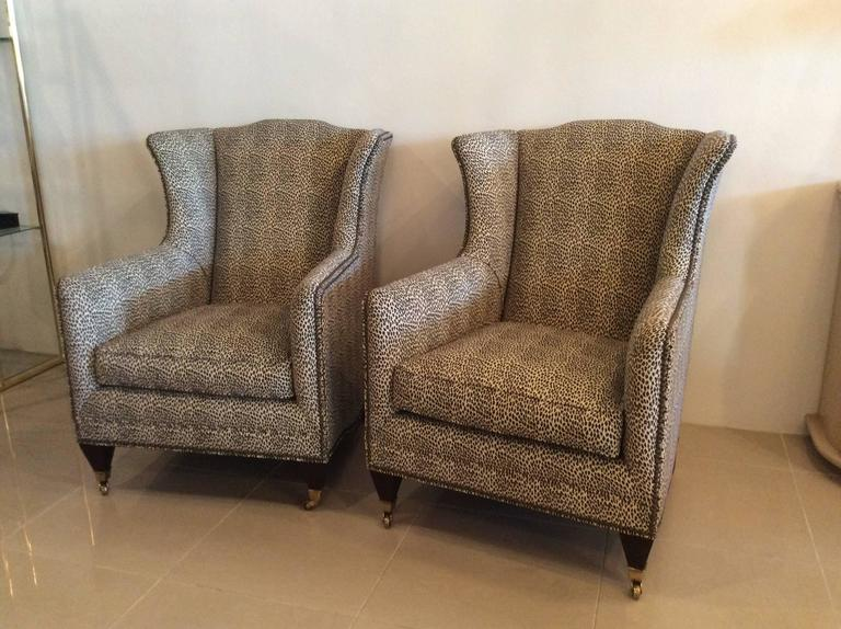 Pair Wingback Animal Print Chairs Nailhead Club Lounge