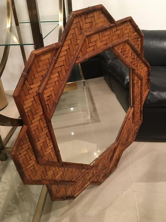 Rattan Woven Reed Bamboo Wall Mirror Octogonal Tropical