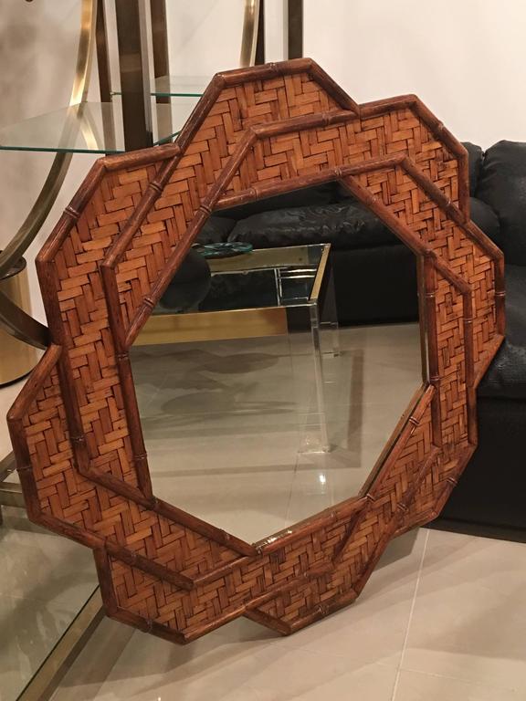 Rattan Woven Reed Bamboo Wall Mirror Octogonal Tropical