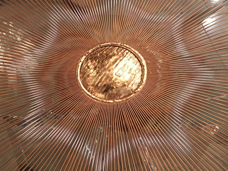 Late 20th Century Starburst Mixed Metal Sunburst Brutalist Wall Hanging Signed Devalf, Mid-Century For Sale