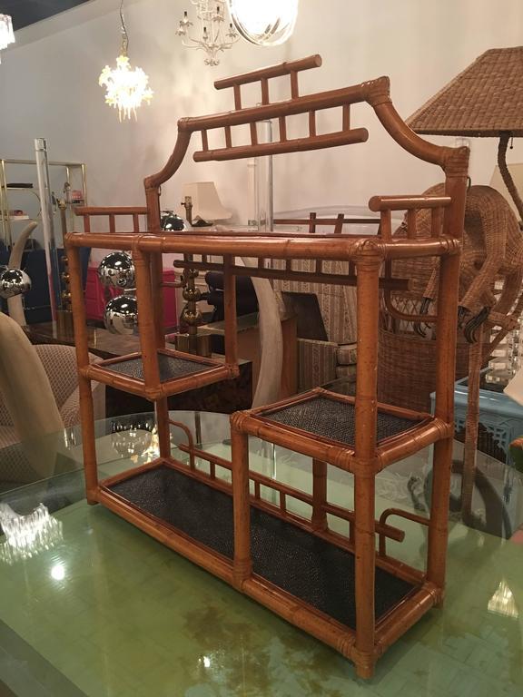 Pagoda Rattan Bamboo Wall or Floor Shelf Shelves Etagere Tropical Palm Beach For Sale 1