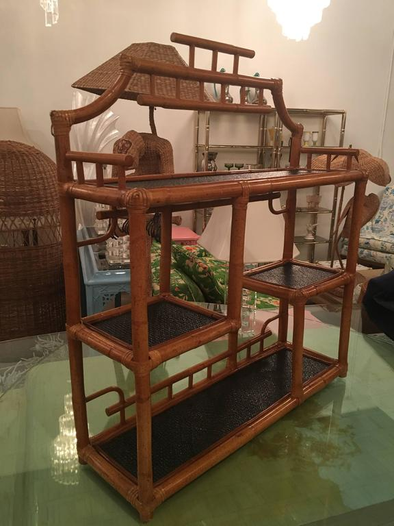 Pagoda Rattan Bamboo Wall Or Floor Shelf Shelves Etagere Tropical Palm Beach At 1stdibs