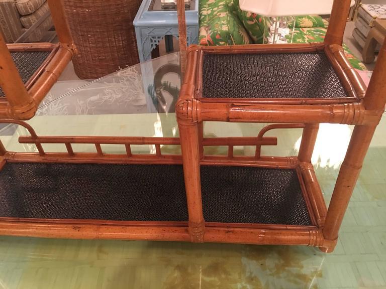 Hollywood Regency Pagoda Rattan Bamboo Wall or Floor Shelf Shelves Etagere Tropical Palm Beach For Sale