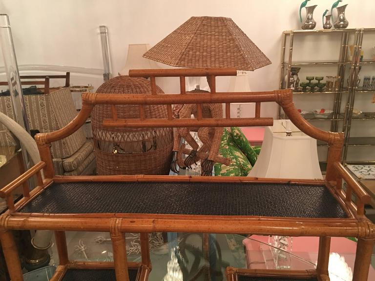 American Pagoda Rattan Bamboo Wall or Floor Shelf Shelves Etagere Tropical Palm Beach For Sale