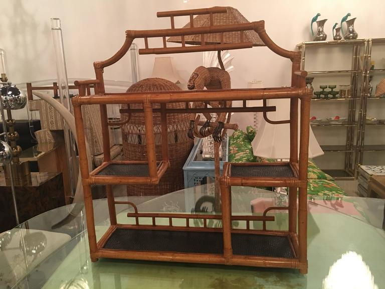 Late 20th Century Pagoda Rattan Bamboo Wall or Floor Shelf Shelves Etagere Tropical Palm Beach For Sale