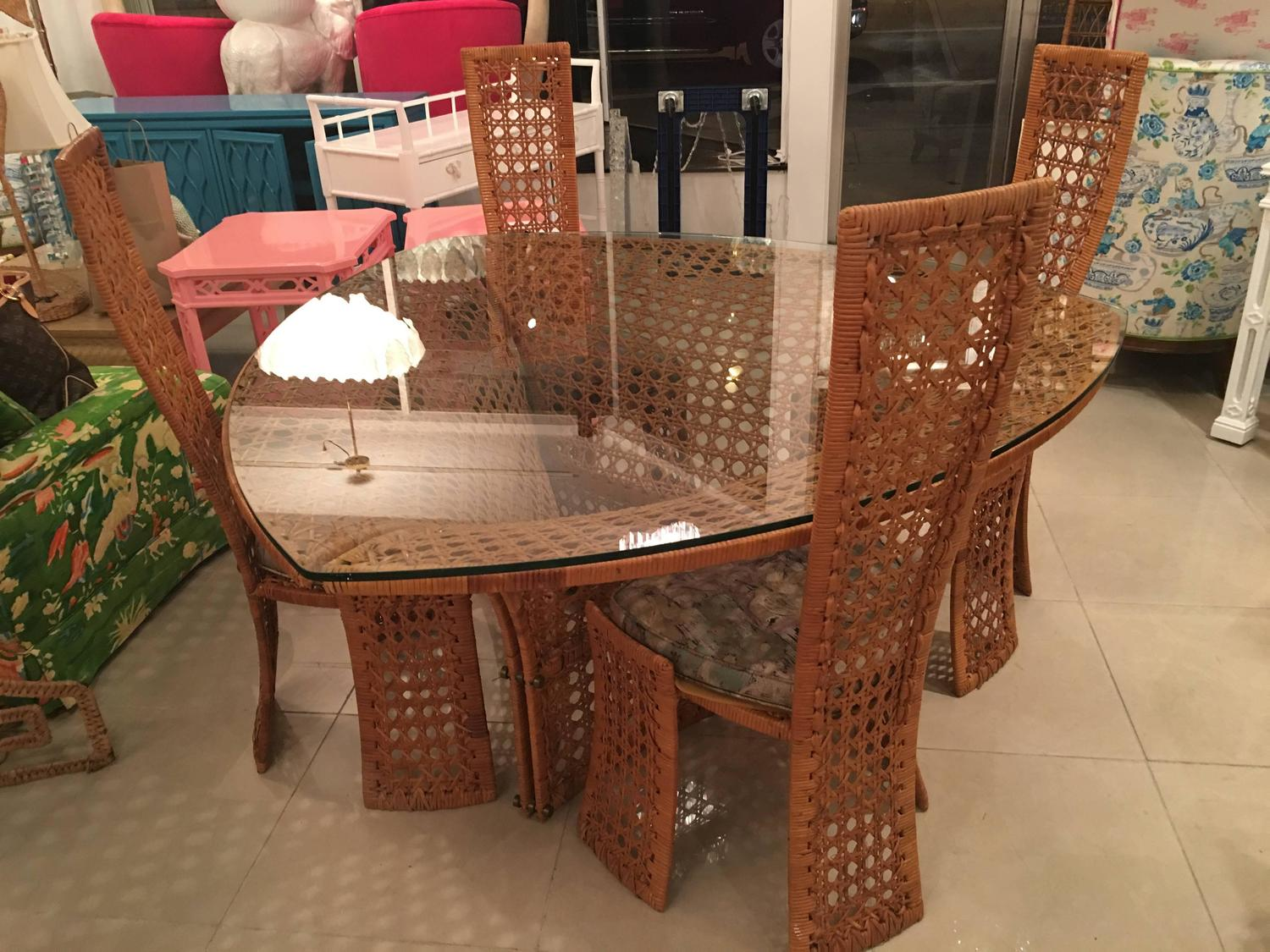 bamboo dining room furniture | Danny Ho Fong Dining Table Set and Four Side Chairs Rattan ...