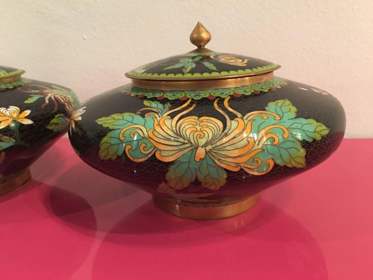 pair of vintage cloisonn lid jars vases urns brass enamel. Black Bedroom Furniture Sets. Home Design Ideas