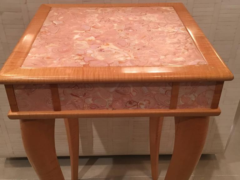 American Pink Agate Marble Stone Birdu0027s Eye Maple Wood End Side Drink Table,  Vintage