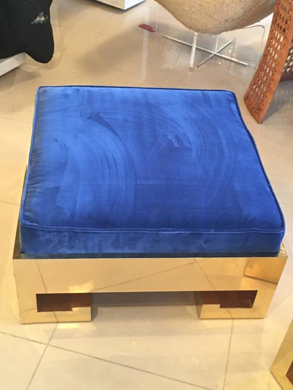 Pair Of Greek Key Gold Brass Ottomans Stools Benches Blue
