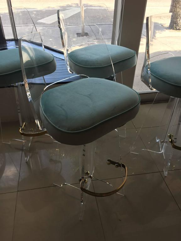 Set Of Four Lucite And Brass Bar Stools Newly Upholstered