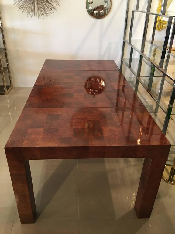 Milo Baughman Patchwork Dining Table Newly Restored Burl Wood Parsons Two Leaves For Sale at 1stdibs
