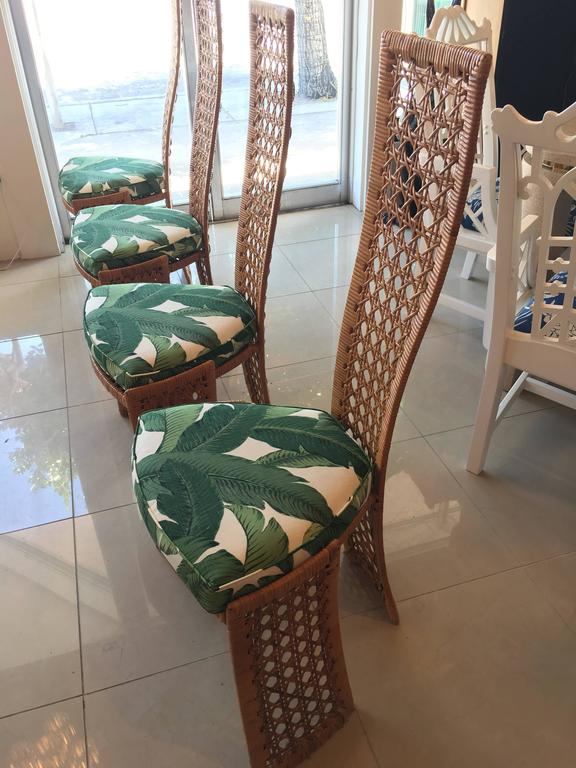 Danny Ho Fong Dining Table Set Four Side Chairs Rattan